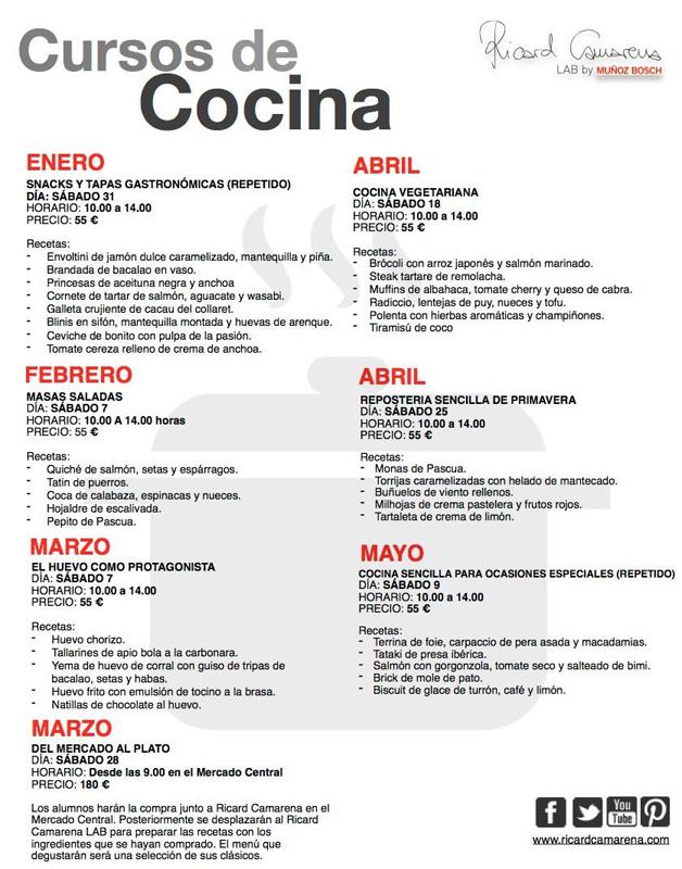 Arrancan los cursos de cocina de ricard camarena lab for Cursos de cocina en castellon